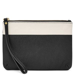 FOSSIL Keely wristlet in black and white leather